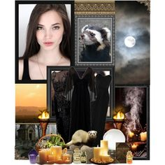 Greek Goddess: Hecate, Goddess of magic, crossroads, moon, ghosts and necromancy by storycosmicjasmine on Polyvore featuring Elie Saab, Zac Posen, Crate and Barrel, Dollhouse, Universal Lighting and Decor, Dennis Basso and MML