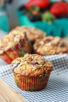 Triple Berry Oat Muffins with Cinnamon Streusel. (I subbed  banana, vanilla and applesauce for the butter and sugar to make them toddler friendly)