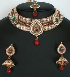 Fashion Indian jewellery polki Necklace set with Emerald ,Ruby and White polki stones-11SMBRJ36  http://www.craftandjewel.com/servlet/the-1713/new-fashion-jewelry/Detail