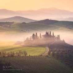 A Morning in Italy by Fleischi88  mist landscape sunrise fog spring nature travel sunlight italy nikon fields space tuscany golden hou