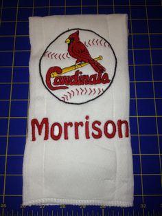 Cardinals burp cloth, bib, hand towel or kitchen flour sack towel.