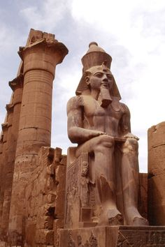 Seated Ramses II at the Ancient Egyptian Luxor Temple. I'd love to go to Egypt if it wasn't so dangerous. Maybe someday Ancient Ruins, Ancient Artifacts, Ancient Egypt, Ancient History, Luxor Temple, Egyptian Art, Egyptian Temple, Ancient Architecture, Ancient Civilizations