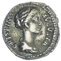 Crispina 179 - 191, Av: CRISPINA AVGVSTA drapierte Büste nach rechts, Rv: DIS GENITALIBVS geschmückter und entzündeter Altar Silber