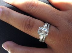 Emerald engagement ring cut - Emerald Cut centre stone with channel set band paired with shared claw wedding band Tacori Engagement Rings, Emerald Cut Diamond Engagement Ring, Eternity Ring Diamond, Engagement Ring Cuts, Emerald Cut Diamonds, Diamond Rings, Diamond Cuts, Tacori Rings, Eternity Rings