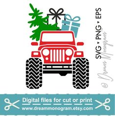 Jeep Svg / Christmas Svg / Christmas Tree Svg / Red truck Svg / Christmas Truck Svg / Cutting files for use with Silhouette Cameo and Cricut Christmas Tree Silhouette, Christmas Vinyl, Christmas Labels, Christmas Truck, Christmas Shirts, Christmas Crafts, Christmas Silhouettes, Christmas Phrases, Christmas Decorations
