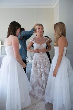 GP wore Valentino Couture; her daughters wore Monique Lhuillier. Photo: Lynsey Addario
