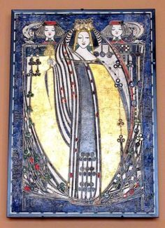 Queen of Clubs-1909 - Margaret MacDonald Mackintosh    This is one of 4 stenciled and gessoed pictures (1909) done by Margaret MacDonald Mackintosh for Catherine Cranston's Glasgow residence, Hous'hill. The gesso creates a high-relief surface and helps emphasize the linear style she was using at the time. The four queens, flanked by two pages, were originally set into the wall, each representing a different card suit. Virginia Museum of Fine Arts in Richmond, Virginia.