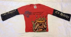 ED HARDY Baby Girls Boys Size 2 For The World Red Dog Crown Tshirt T Shirt Tee #EdHardy #Everyday