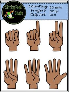 Counting Fingers Clip Art Freebie - I hope you enjoy this free clip art set.  Check out some of the other free clip art in my shop.  I'm always adding more, and I would love to have your feedback on this freebie and my other clip art products.  Have fun!There are a total of 6 high quality transparent PNGs 300 dpi which can easily be layered and re-sized.
