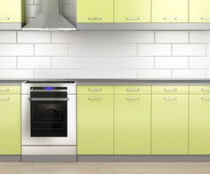 Stove and range hood in the kitchen