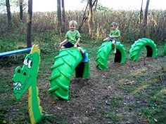 Dragon from tractor tires - would make great divider between garden & playground area within garden. Where can we get tractor tires honey? Kids Outdoor Play, Kids Play Area, Outdoor Fun, Play Areas, Space Kids, Indoor Play, Play Spaces, Outdoor Toys, Outdoor Games
