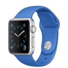 51b036109d54c8 Apple Watch Sport - 38mm Silver Aluminum Case with Royal Blue Sport Band -  Apple Apple