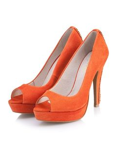 SuperTrash Jeweller orange suede pumps.  Digging the gold chain detail on the heel. shoe-whore beauty