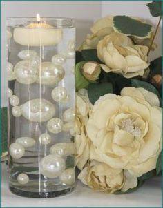 Unique Ivory & White Pearl Beads Including Clear Water Pearls. Great for Wedding Centerpieces and Decorations by Celebration Styles