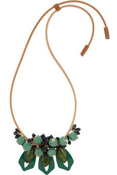Marni Leather, resin and horn necklace | NET-A-PORTER