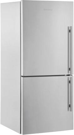 Blomberg BRFB18 30 Inch Counter Depth Bottom Freezer Refrigerator with 17.8 cu. ft. Capacity, 2 Glass Shelves, Wine Rack, Blue Light Crisper Drawer, Tall Bottle Door Bins and 3 Interior Freezer Drawers