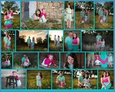 Family-Portraits-Bluff-Dale-Texas-by-LaDon-Hooser-with-3LE-Photography - Rustic Family Portraits - Teal and Pink - Chevron Prints- Little Girls- Grass - Off Camera Flash