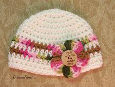 Baby Girl Hat Baby Girl Beanie Crochet Pink by dreamfancies