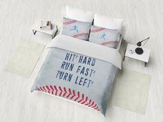 Baseball Bedding Set, Inspirational Quote Duvet Cover Set, Sport Bedding, Baseball Bedroom Decor, Lu