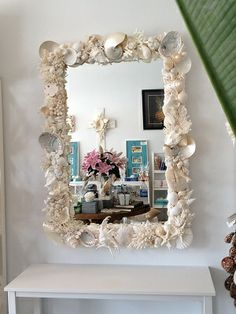 coral mirror, shell mirror, bernice standen, beach house mirror, coastal mirror, seaside mirror, beach house decor, island mirror, hawaiian mirror, I'm doing this to a mirror I pick up at a garage sale for our downstairs bathroom.