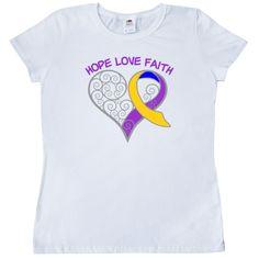Bladder Cancer Hope Love Faith Swirl Heart Women's T-Shirt - White | Awareness Ribbon Shirts at Gifts4Awareness.Com