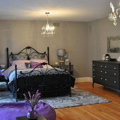Grey Bedrooms Design Ideas, purple