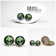 Alien Stud Earrings Alien Jewelry UFO Space Earrings by KUKAJTUcom, $8.00