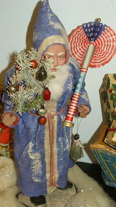 amazing antique patriotic Santa, German  via Flickr