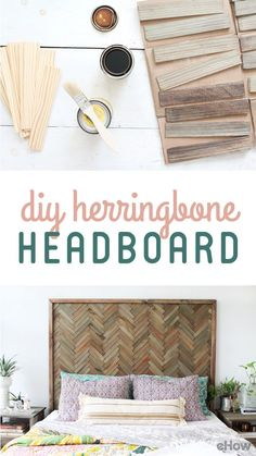 Need a headboard for your bed? DIY this Herringbone headboard! Wood shims are sold in packages of 12 Herringbone Headboard, Wood Headboard, Herringbone Wall Art, Diy King Headboard, Bed Without Headboard, Headboard Ideas, Diy Home Decor, Room Decor, Decoration Inspiration