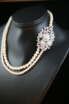 Olivia Swarovski crystal double strand pearl necklace