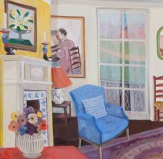 Join us for our Lottie Cole exhibition at Cricket Fine Art London. View more via link in image. Lottie Cole Interior with Vanessa Bell, Gluck and Anemones Signed Oil on canvas 39 3/8 x 39 3/8 in 100 x 100 cms (LC053)