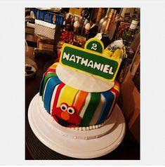 Sesame Street themed birthday cake with fondant, Elmo, Cookie Monster