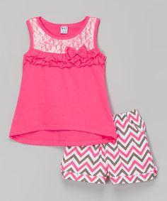 Loving this Neon Peach Ruffle Tank & Zigzag Shorts - Toddler & Girls on #zulily! #zulilyfinds