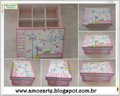Peça organizadora - Caixa Believe madeira http://www.amocarte.blogspot.com.br/