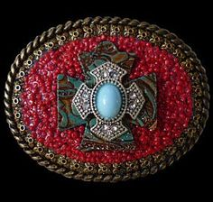 Western Leather Cross and Faux Turquoise Mosaic Belt Buckle clickincowgirls.com