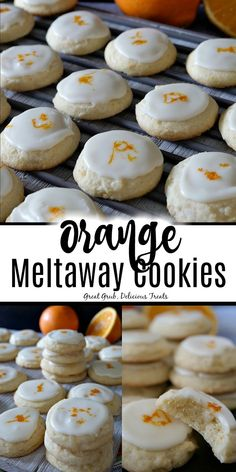 Orange Meltaway Cookies are soft and chewy, topped with an orange flavored icing and orange zest. Homemade Cookies, Yummy Cookies, Yummy Treats, Sweet Treats, Bakery Recipes, Cookie Recipes, Dessert Recipes, Cookie Ideas, Just Desserts