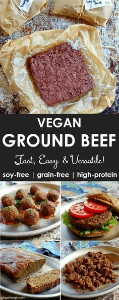 Vegan Ground Beef (Grain-Free, High-Protein, Soy-Free) - Vegetarisch - Past Veggie Recipes, Whole Food Recipes, Healthy Recipes, Dinner Recipes, Chicken Recipes, Protein Recipes, Protein Foods, Vegan Recipes For One, Protein Cake