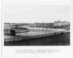 A glossy black and white print of Blackfriars Bridge with Carling's Brewery in the background. Doomsday Book, Canadian History, London Art, My Town, City Life, Ontario, Holland, North America, Tourism