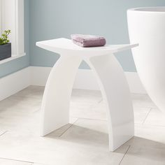 Buy the Signature Hardware 327523 Matte White Direct. Shop for the Signature Hardware 327523 Matte White Cygni Resin Bath Stool and save. Bathroom Flooring, Bathroom Furniture, Bathroom Cabinets, Furniture Decor, Basement Bathroom, Bath Stool, Design Salon, Shower Seat, Shower Benches