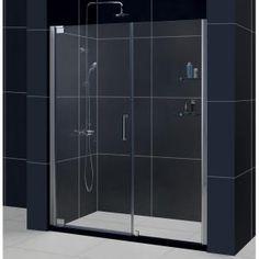 DreamLine Elegance 54-1/2 in. to 56-1/2 in. x 72 in. Frameless Pivot Shower Door in Chrome-SHDR-4154720-01 at The Home Depot