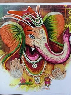 I wonder if its Quilling.(Yes, that's quilling! Ganesha Drawing, Ganesha Painting, Ganesha Art, Lord Ganesha, Paper Quilling Flowers, Paper Quilling Designs, Quilling Cards, Diy Quilling Crafts, Quilling Ideas