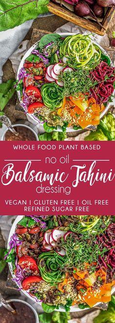 No Oil Balsamic Tahini Dressing! - Vegan Salads with Protein - Tahini Dressing, Oil Free Salad Dressing, Balsamic Dressing, Protein Salat, Quinoa Salat, Vegetarian Recipes, Healthy Recipes, Easy Recipes, Vegan Vegetarian