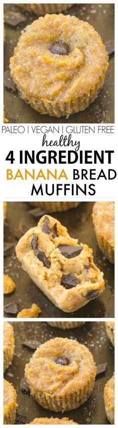 Healthy FOUR Ingredient Banana Bread Muffins- Moist, gooey yet incredibly tender, these 4 ingredient muffins have no butter, oil, white flour or sugar- The perfect recipe to use up bananas! {vegan, gl