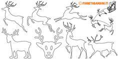 Sagome di renne da stampare e ritagliare Christmas Cards, Xmas, Rena, Christmas Templates, Science And Nature, Reindeer, Printables, Silhouette, Artwork