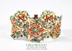Largo Bracelet Bead Pattern And Tutorial featuring Mini Duo beads