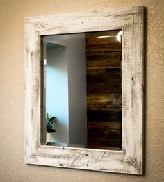 Whitewashed Reclaimed Wood Mirror - pallet idea