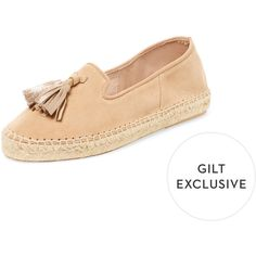 Maiden Lane Women's Suede Tassel Espadrille - Cream/Tan, Size 10 ($50) ❤ liked on Polyvore featuring shoes, sandals, suede shoes, espadrille sandals, cream sandals, metallic espadrilles and metallic sandals