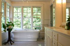 Would love to take a bath with an unobstructed view outside, but foliage creating an obstructed view inside!
