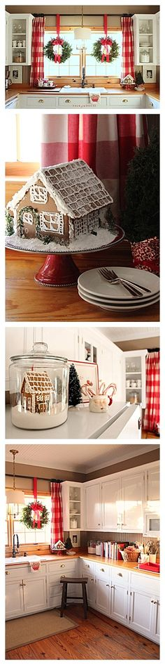 This beautiful kitchen is decorated in a cheerful red and green with hints of black and white. A fun Christmas home ready for family to come and enjoy.