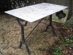 French Marble Top Bistro Table Circa: